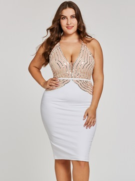 Ericdress Plus Size V Neck Sequins Knee-Length Cocktail Dress