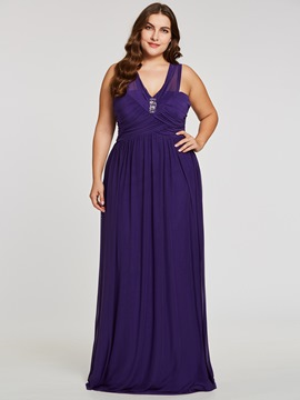 Ericdress Plus Size Short Sleeves Floor-Length Evening Dress