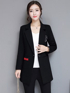 Ericdress One Button Letter Mid-Length Blazer