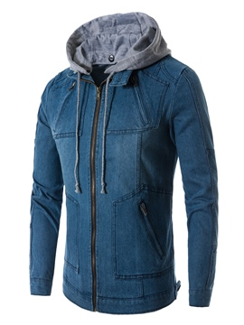 Ericdress Hooded Patchwork Zipper Men's Denim Jacket