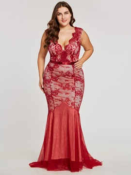 Ericdress Plus Size V Neck Backless Lace A Line Evening Dress
