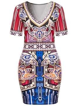 Ericdress V-Neck Print Above Knee Bodycon Dress