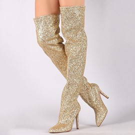 Ericdress Glitterring Sequin Pointed Toe Thigh High Boots