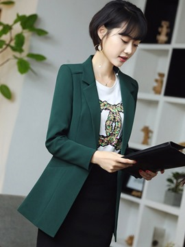 Ericdress One Button Plain Mid-Length Blazer