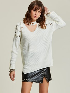 Ericdress Plain Hollow Lace-Up Pullover Women's Sweater