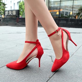 Ericdress Line-Style Buckle Plain Stiletto Heel Pumps