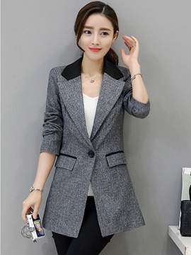 Ericdress Slim One Button Mid-Length Patchwork Blazer