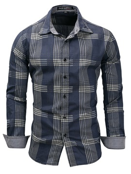 Ericdress Lapel Plaid Slim Men's Shirt