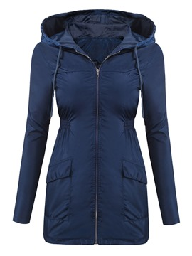 Ericdress Plain Mid-Length Hooded Jacket