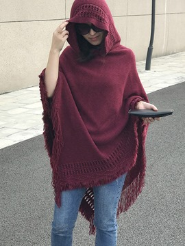 Ericdress Plain Mid-Length Tassel Hooded Cape