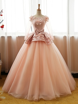 Ericdres Bowknot Flowers Floor-Length Ball Quinceanera Dress