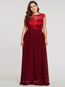 Scoop Neck Lace Appliques A Line Evening Dress