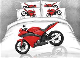 Vivilinen 3D Red Sports Motorcycle Printed 4-Piece White Bedding Sets/Duvet Covers
