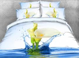Vivilinen Calla Lily with Splashing Water Printed 4-Piece 3D Bedding Sets/Duvet Covers