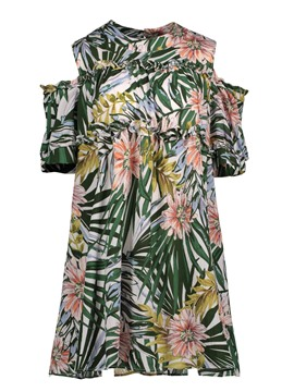 Ericdress Chiffon Cold Shoulder Flower Print Women's Day Dress