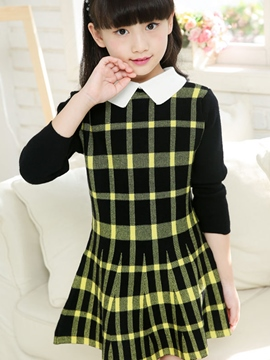 Ericress Plaid Lapel Long Sleeve Girl's A-Line Dress