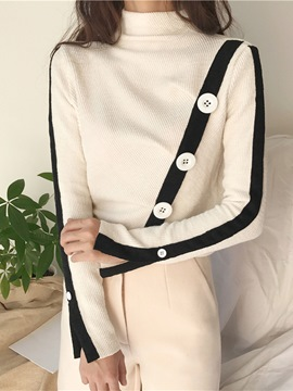 Ericdress Button Turtleneck Patchwork Knitwear