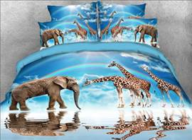Vivilinen 3D Elephants Giraffes and Blue Sky Natural 4-Piece Bedding Sets/Duvet Covers