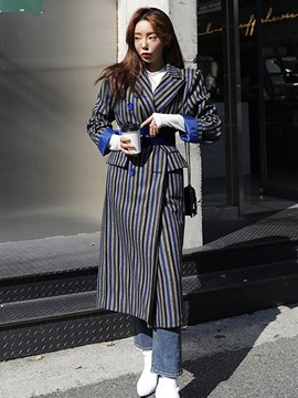 Ericdress Notched Lapel Stripe Long Belt Coat