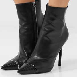 Ericdress Plain Pointed Toe Side Zipper Stiletto Heel Boots