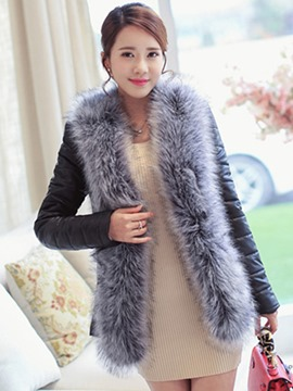 Ericdress Classy Thick Faux Fur PU Jacket