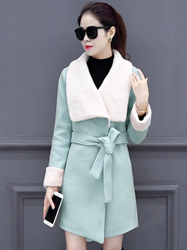 Ericdress Lapel Lace-Up Mid-Length Thick Coat
