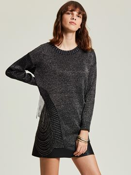 Ericdress Loose Chain Pullover Asymmetric Women's Sweater