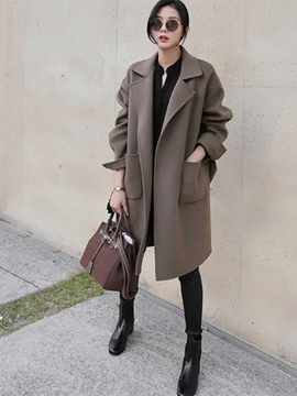 Ericdress Lapel Plain Mid-Length Coat