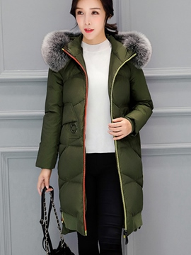 Ericdress Zipper Mid-Length Fur Hooded Down Coat