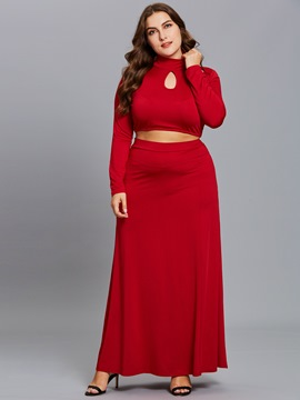 Ericdress Plus Size Tops and Floor-Length Skirt Women's Two Piece Set