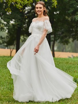 Ericdress A Line Tulle Short Sleeves Wedding Dress