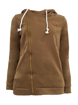 Ericdress Zipper Plain Hooded Sweatshirt