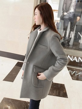 Ericdress Plain One Button Mid-Length Thick Coat