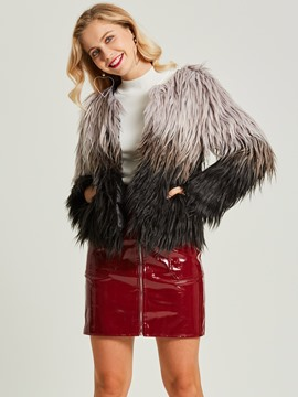 Loose Gradient Faux Fur Women's Overcoat