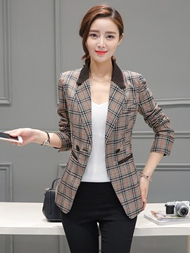 Ericdress Slim Double-Breasted Plaid Blazer