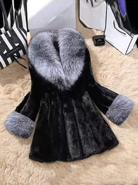 Ericdress Loose Mid-Length Thick Fur Coat