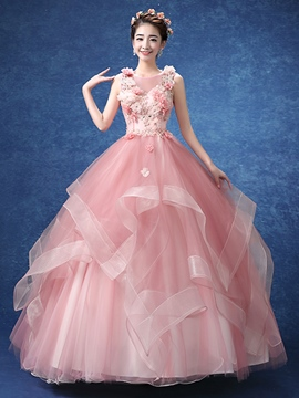 Ericdress Beaded Flowers Pick-Ups Quinceanera Dress