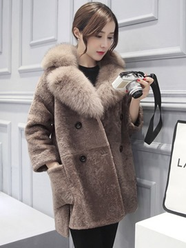 Ericdress Double-Breasted Faux Fur Mid-Length Coat