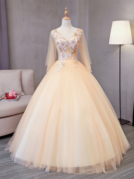 Ericdress Appliques Pearls Sequins V-Neck Quinceanera Dress
