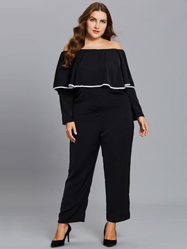 Ericdress Plus Size Ruffles Slash Neck Women's Jumpsuit