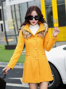 Ericdress Plain Fur Collar Single-Breasted Coat