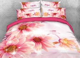 Vivilinen 3D Pink Dahlia Flowers Printed 4-Piece Bedding Sets/Duvet Covers
