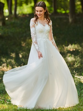 Ericdress A Line Long Sleeves Tulle Wedding Dress