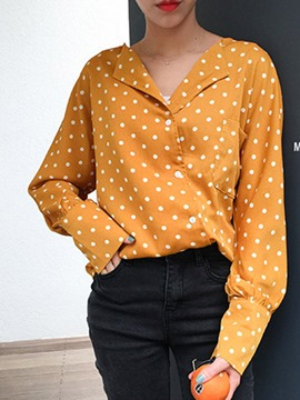 Ericdress Loose Polka Dots Single-Breasted Shirt