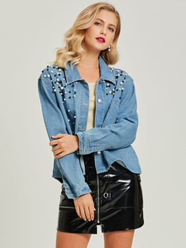 Ericdress Lapel Beads Single-Breasted Denim Jacket