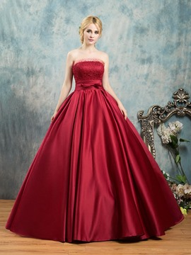 Ericdress Strapless Bowknot Lace Sashes Ball Quinceanera Dress