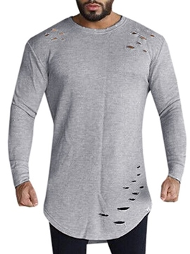 Ericdress Round Neck Hole Long Sleeve Men's T-Shirt