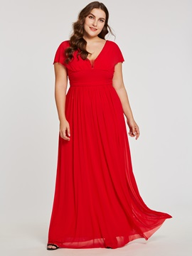 Ericdress V Neck Zipper-Up A Line Red Evening Dress