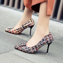 Ericdress Rhinestone Color Block Slip-On Stiletto Heel Pumps