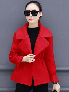 Ericdress Plain Lapel Double-Breaste Coat